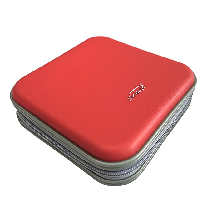 40 CD/VCD/DVD Case Binder Portable Hard Plastic Disc Container Red