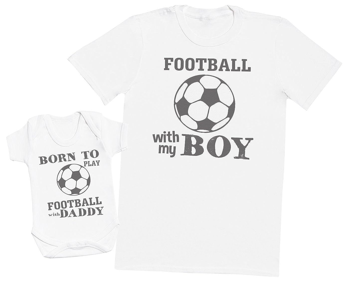 Ensemble P/ère B/éb/é Cadeau Hommes T-Shirt /& Body b/éb/é Born to Play Football with Daddy