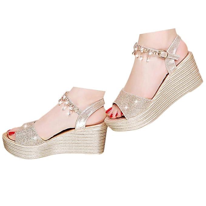 c6a8aba6322 Veodhekai Women Wedge Heel Sandals Sparkly Platform Sandals Peep-Toe ...