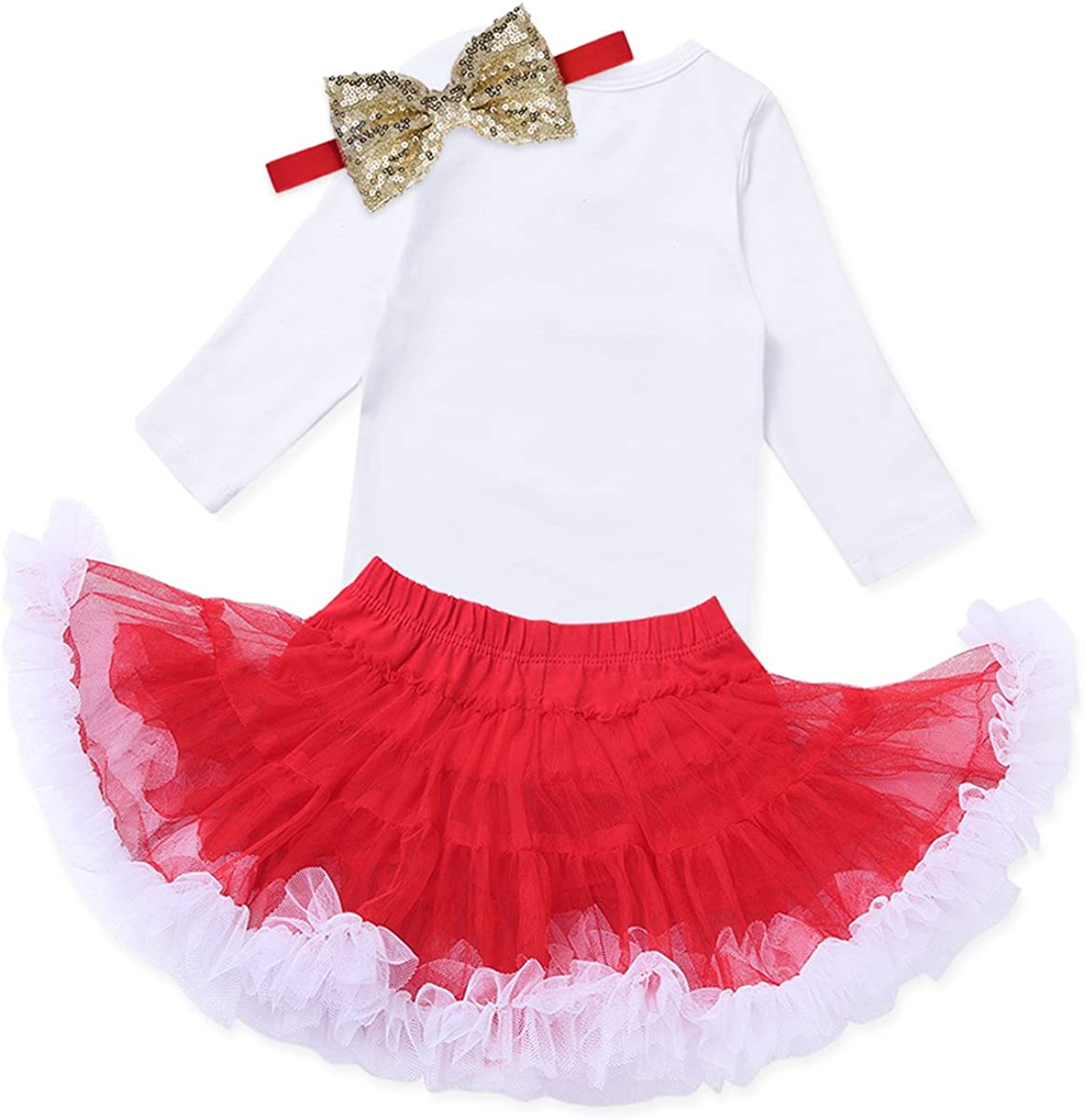 1st Birthday Oufit Romper Bodysuit Top with Headband Tutu Skirt Set FEESHOW Newborn Baby Girls 1//2 Half