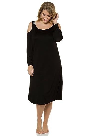 Ulla Popken Women s Plus Size Cold Shoulder Lounge Knit Tunic Black 28 30  714601 10 6765f6b80