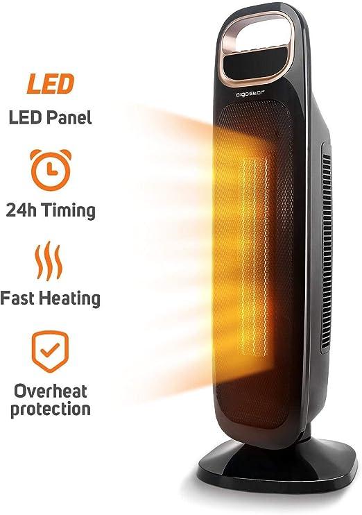 calor instant/áneo Aigostar Warmcube 33 LCG Dise/ño exclusivo. Calefactor cer/ámico PTC port/átil 2 velocidades termostato ajustable tama/ño mini 2000W