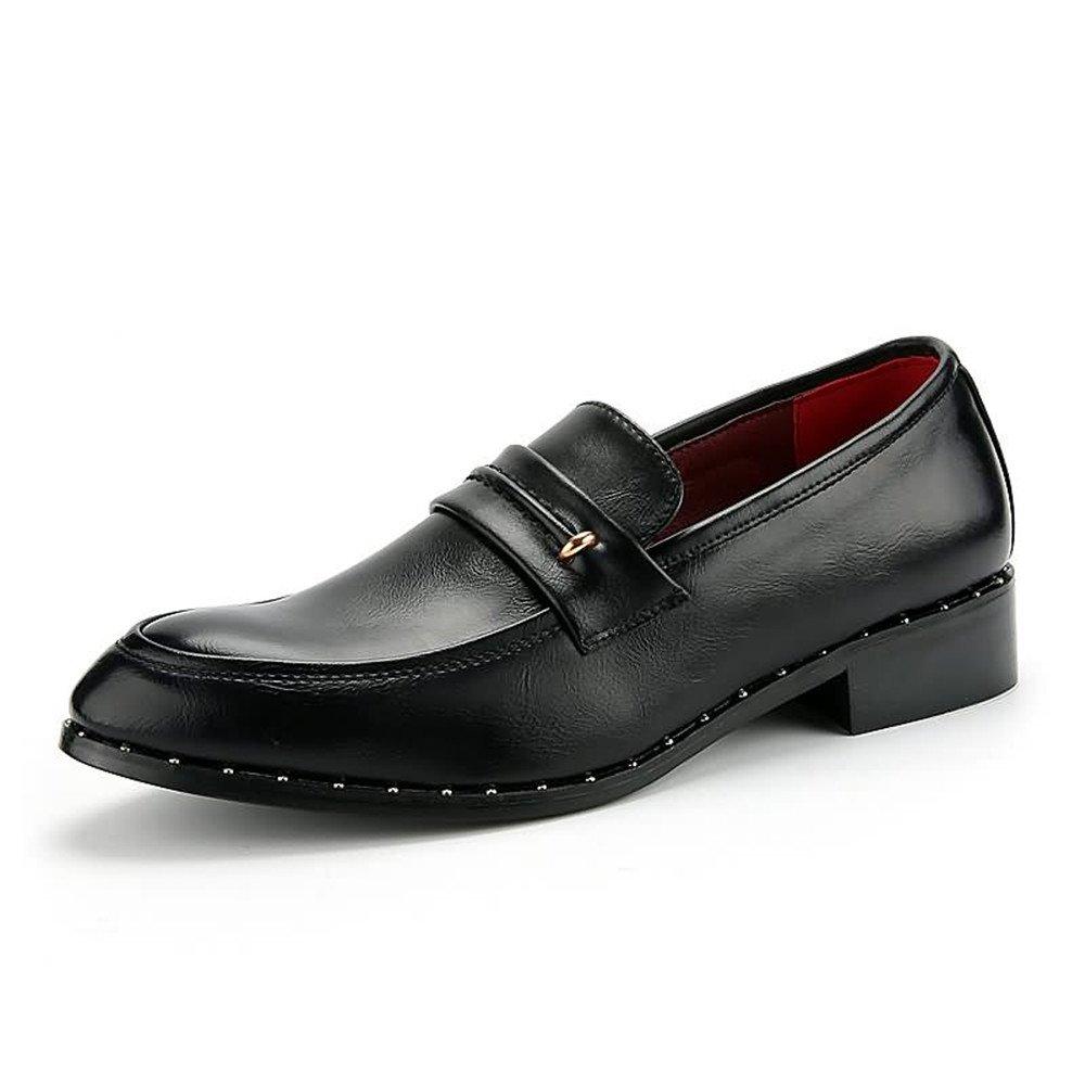 Fang schuhe, 2018 Herren Oxfords Flache Ferse Weichen PU Leder (Farbe Slip auf Business Schuhe (Farbe Leder : Blau, Größe : 40 EU) Schwarz f49fbe