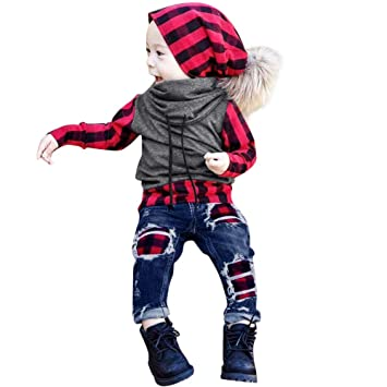 612833947 Amazon.com  Toddler Baby Boys Clothes Long Sleeves Plaid Splice ...
