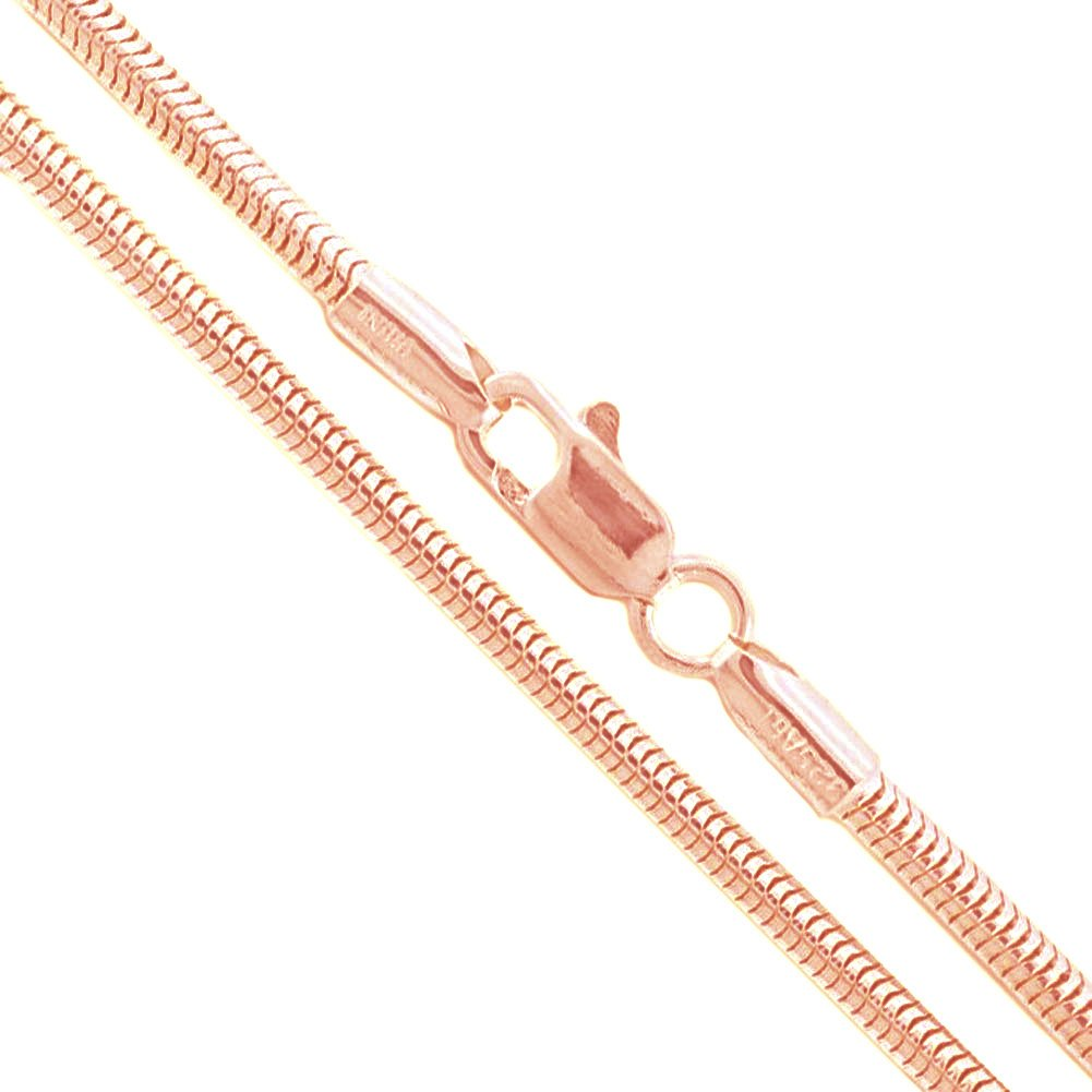 22k Rose Gold Plated Sterling Silver Snake Chain 2.4mm Solid 925 New Brazilian Necklace 36''
