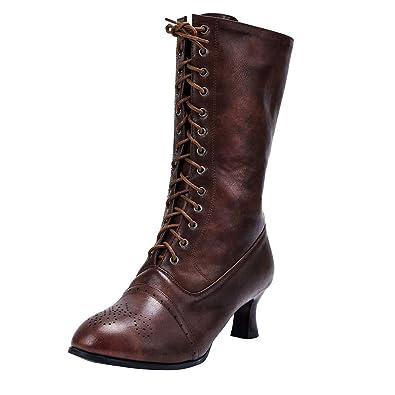 Longra Stivali con Lacci Vintage Stivaletti alla Caviglia