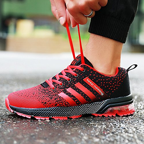 PAMRAY Mens Womens Trainers Running Sports Fitness Athletic Shoes Air Bubble 3cm Sneakers 36-47 Black Black&White Blue Red Red-pls Choose 1 Size Up QTfJlAQ