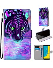 Miagon Full Body Case for Samsung Galaxy A6 2018,Colorful Pattern Design PU Leather Flip Wallet Case Cover with Magnetic Closure Stand Card Slot,Drinking Tiger