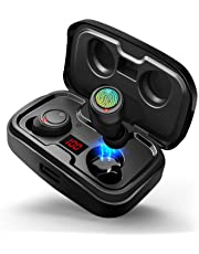 【2019 Newest】 Bluetooth Earbuds V5.0, In-ear Bluetooth Headphones TWS Stereo Headset with 3000mAh Charging Box Mic Power Display Type-C Port Wireless Earphones for iPhone iPad Samsung Huawei Tablet