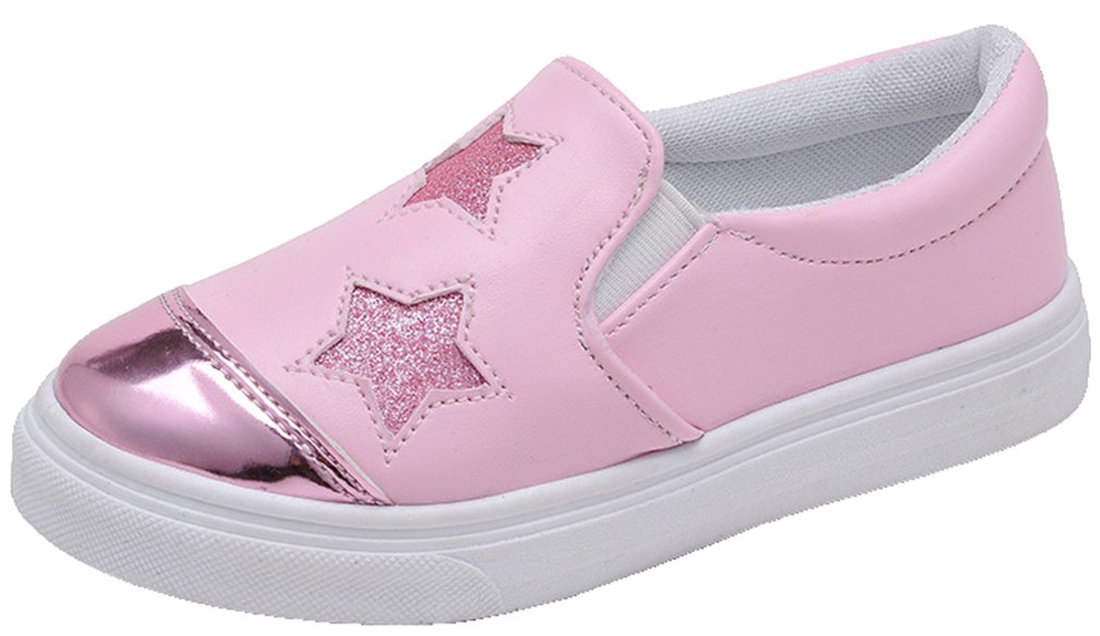 VECJUNIA Girl's Casual Flat Sneakers PU Cap Toe Low Top Slip On Shoes with Stars (Pink, 1.5 M US Little Kid) by VECJUNIA