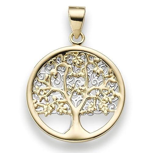 più recente 23529 40e99 Collana con amuleto dell'albero della vita, ciondolo di giada, in oro 585  giallo e bianco. Misure 25 x 17,5 mm. Ciondolo d'oro