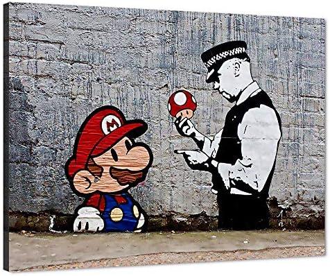 Graffiti Pop Mario Mushroom Banksy Street SINGLE CANVAS WALL ART Picture Print