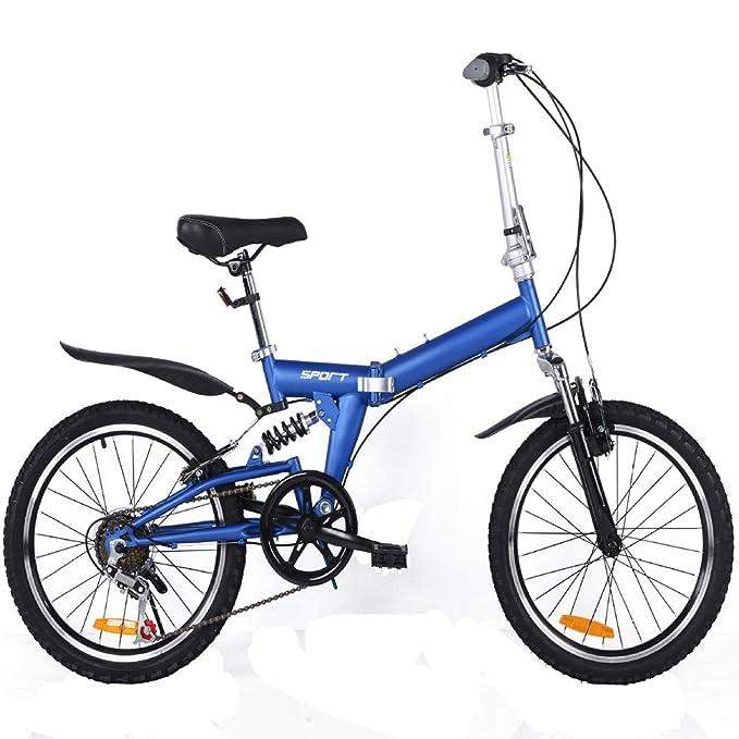 LETFF Bicicleta Plegable para Adultos 20 Pulgadas para Hombres y Mujeres Deportes Entretenimiento portátil Bicicleta Plegable(Blue): Amazon.es: Deportes y ...