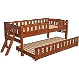 タンスのゲン 二段ベッド 収納 ロータイプ 子ベッド付き2段ベッド 木製 シロップ ブラウン 11719055 BR
