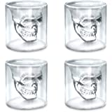 Viktorwan Skull Glasses, Shot Glasses,Funny Crystal Drinking Cup,Creative Whiskey Glasses,Double Wall Cool Beer Cup for…