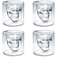Skull Glass Cup Set of 4, Double Wall Crystal Skull Shot Mug Creative Drinking Glasses for Whiskey Cocktail Beer Wine Bar Home Party Gift