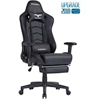 Ficmax Ergonomic Gaming Chair Racing Style Office Chair Recliner Computer Chair PU Leather High-Back E-Sports Chair Height Adjustable Gaming Office Desk Chair with Massage Lumbar Support and Retractable Footrest