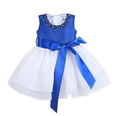 1afb54212a551 TiaoBug Bébé Fille Robe de Baptême Organza Robe de Cérémonie Soirée Mariage  Robe à Perles Col