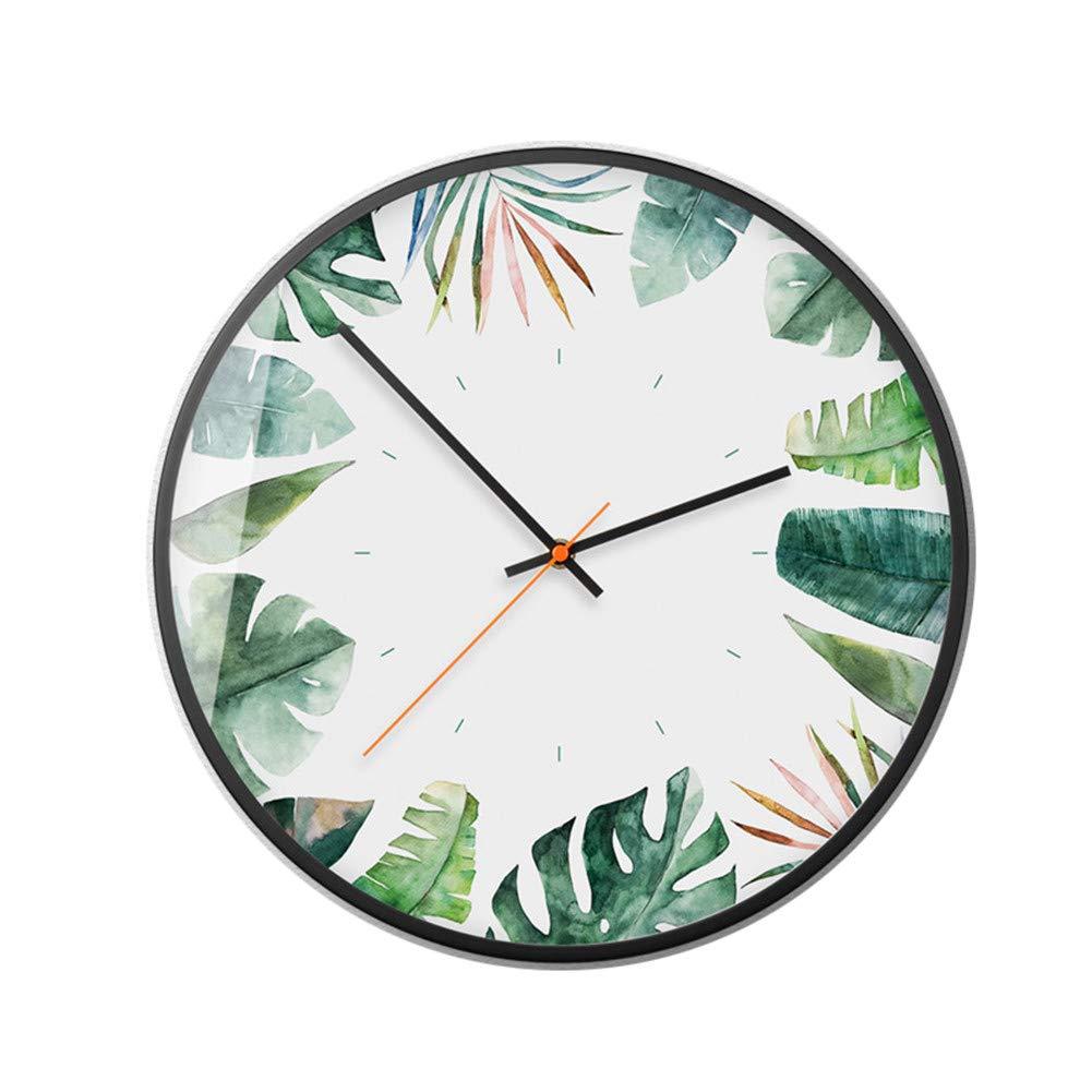 Les Plantes /à Feuillage Vert. Classic quality Horloge Murale silencieuse lhorloge Murale horloges Nordique s/éjour cr/éatif personnalis/é et /él/égant Accueil Ambiance Tropicale de 15