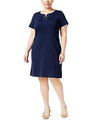 bdaf8f71977 Karen Scott Plus Size Lace-up Knit Dress in Intrepid Blue (3X) at ...