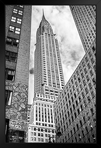Looking up at The Chrysler Building New York City Photo Art Print Framed Poster 14x20 inch -