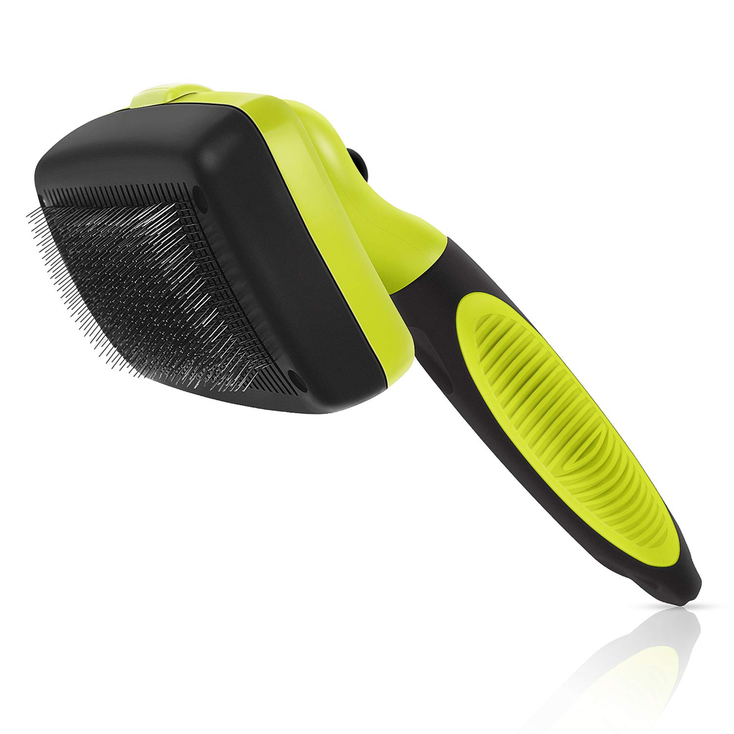 Dog Brush Cat Pet Grooming Brush Comb Self Cleaning Slicker Brush Reduces Shedding Up to 95% Removes Tangles De Sheds for Long Thick & Short Hair Pet Green and Black