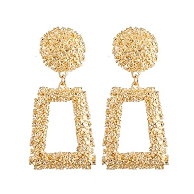 e18bbf11d Hollow Geometric Large Square Dangle Earrings Metal Statement Drop Earrings  Punk Bohemian Raised Textured Design Big Hoop Earrings for Women Fashion  Jewelry