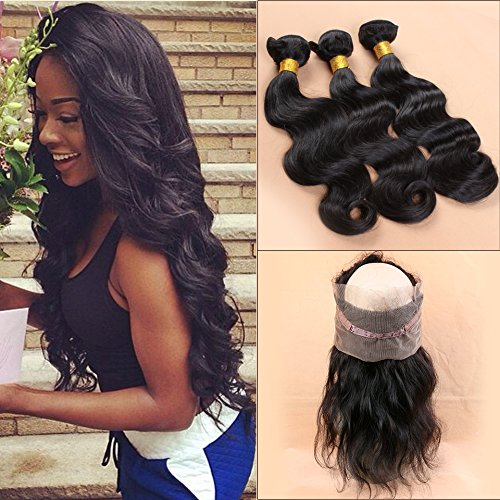 Slove 360 Brazilian Virgin Human Hair Full Lace Frontal Band with 3 Bundles Body Wave Middle Part Natural Black Color with Baby Hair to Make a Full Wig Size 12 12 12 Frontal 10