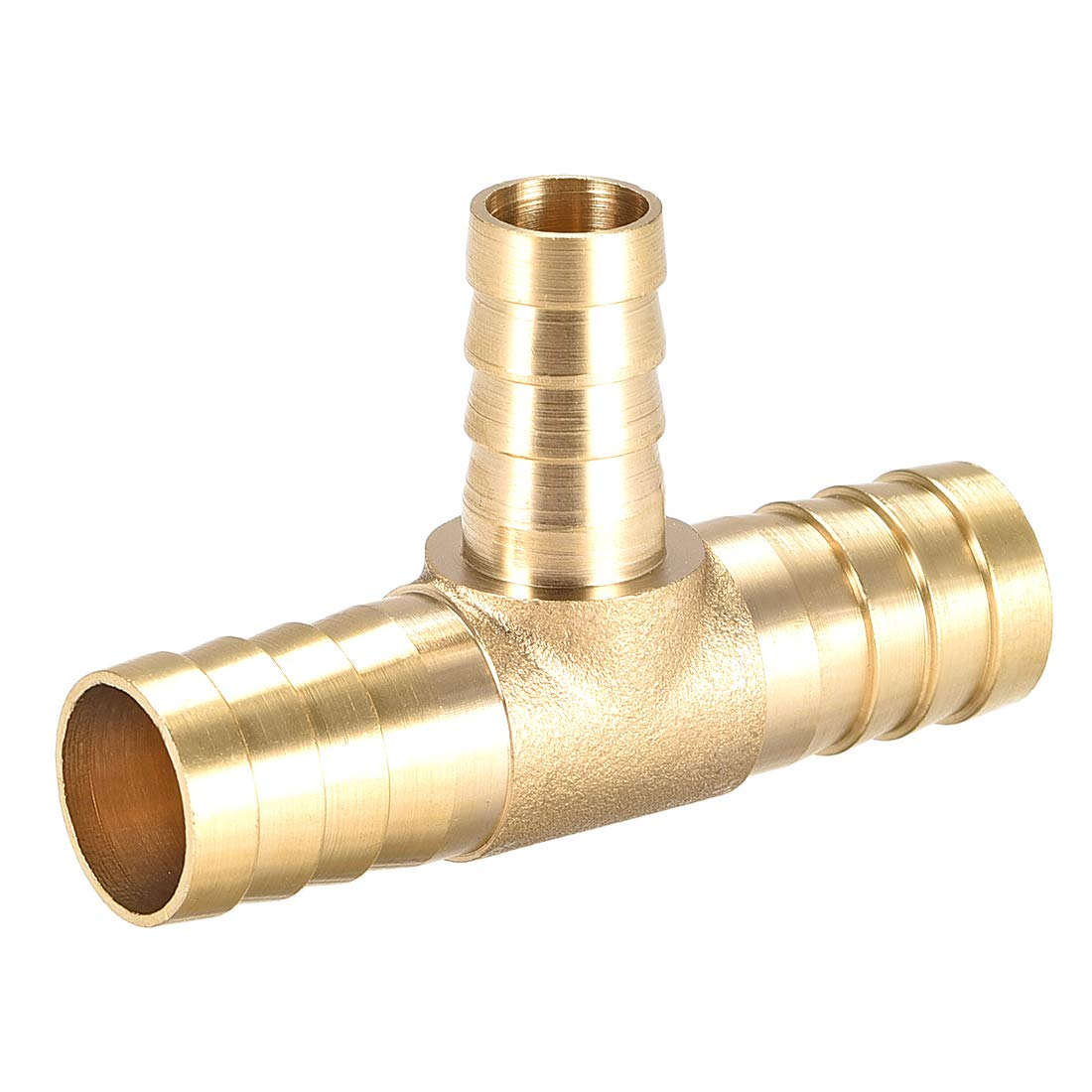 uxcell 10mm X 8mm X 10mm Brass Hose Reducer Barb Fitting Tee T-Shaped 3 Way Barbed Connector Air Water Fuel Gas