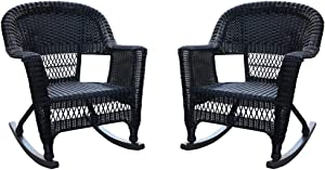 Jeco , Set of 2 Wicker Rocker Chairs, Black