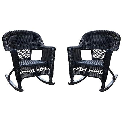 Genial Jeco W00207R D_2, Set Of 2 Wicker Rocker Chairs, Black