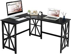GreenForest L Shaped Corner Desk, Industrial Style Compact Design Computer Gaming Desk PC Laptop Workstation for Home Office, Black