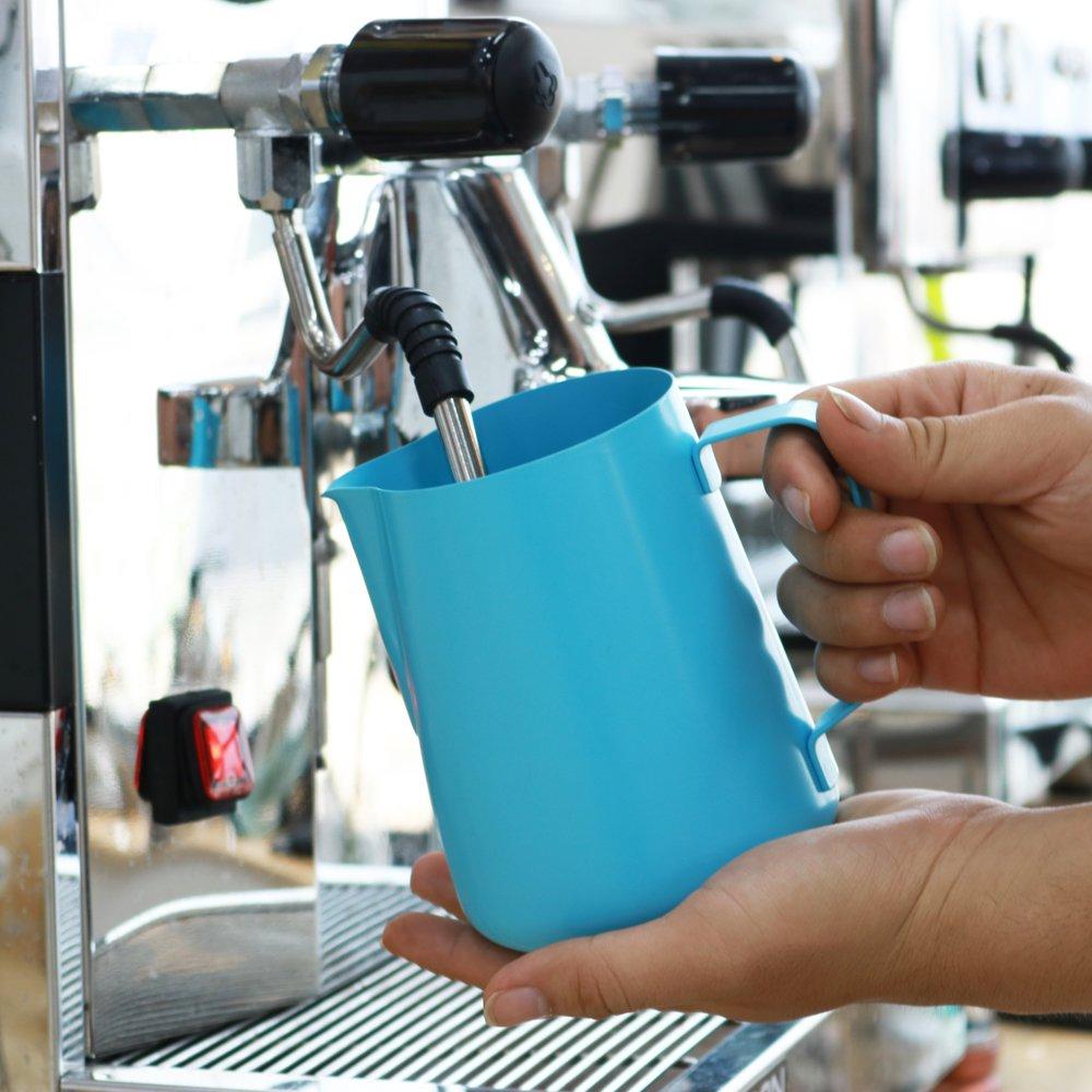 R.G accesorios Telfon antiadherente revestimiento acero inoxidable leche al vapor y jarra para leche espumosa