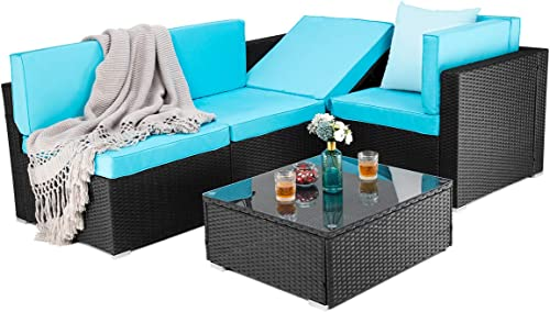 PAMAPIC 5 Pieces Patio Furniture Outdoor Rattan Sectional Sofa Conversation Set