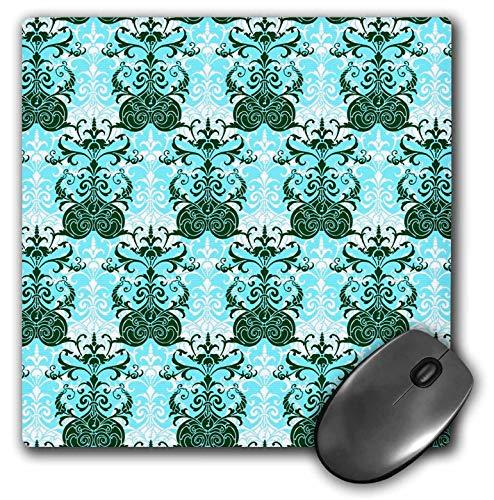 (3dRose Russ Billington Patterns - Turquoise White and Dark Green Regency Wallpaper Pattern - Mousepad (mp_241044_1))