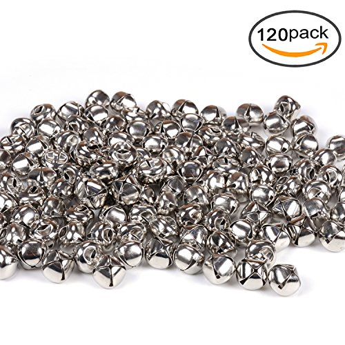1/2 Inch Jingle Bell - eborder 1/2 inch Jingle Bells Craft Bells Set for Kids, Craft and Christmas Decoration, 120 Pieces (Silver)