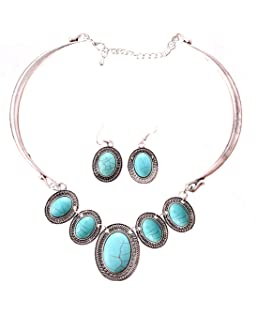 Qiyun (TM) Tibet Silver Collar Choker Turquoise Blue Bead Stone Necklace Earrings Set