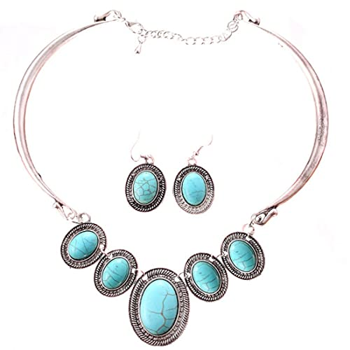Tibet Silver Collar Choker Turquoise Blue Bead Stone Necklace Earrings Set