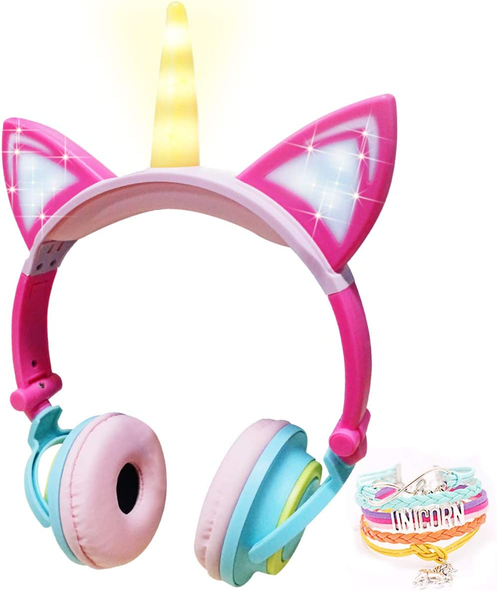 JYPS Unicorn Headphone Cat Kids Foldable Headphones Wired Headset Earphone for Kids Girls, Back to School Supplies Gifts