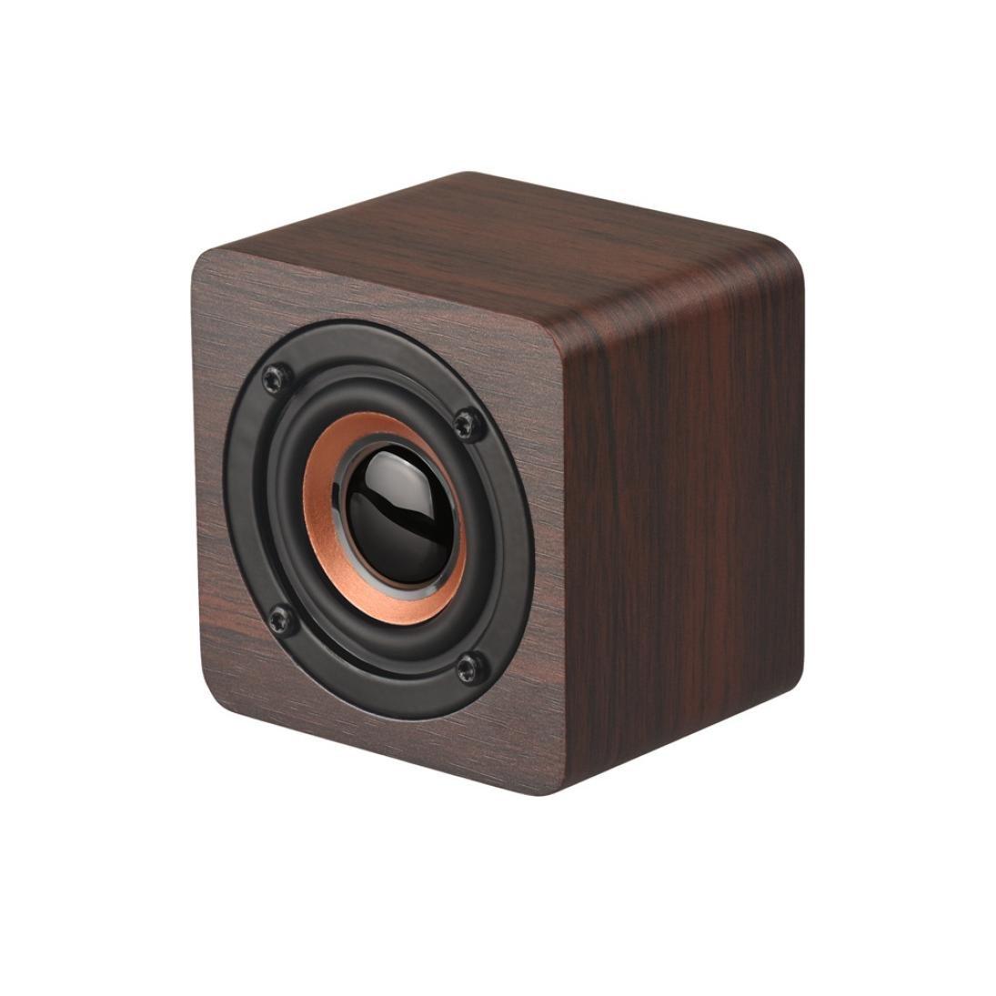 Wooden Wood Subwoofer Wireless BT4.2 Speaker HIFI Stereo Bass Speaker, Portable Super Bass Wireless Bluetooth Speaker Outdoor & Indoor (C)