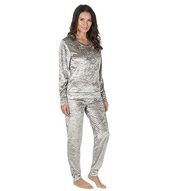 88b26307cd Forever Dreaming Women s Crushed Velvet Pyjama Set - Long Sleeve Loungewear  Silver Amethyst S