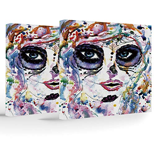 Artwork Wall Art Canvas Prints Picture,Sugar Skull Decor,2 Panels Stretched Canvas Framed Wall Art,Halloween Girl with Sugar Skull Makeup Watercolor Painting Style Creepy -
