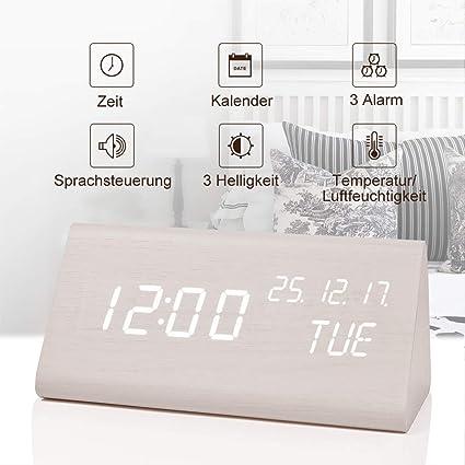 fomobest LED Despertador Digital Despertador Recargables Mesa de Madera Reloj Fecha/Indicador de Temperatura,