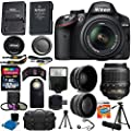 Nikon D3300 24.2 MP CMOS Digital SLR Camera + 18-55mm VR II Zoom Lens + 2x Professional Lens + HD Wide Angle Lens + Filter Kit + 32GB Accessory Bundle (20 Items) International Version (No Warranty)