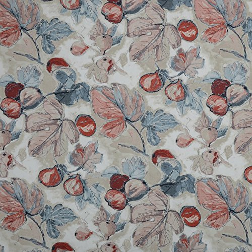- Rouge Blue Red Contemporary Floral Print Upholstery Fabric by The Yard