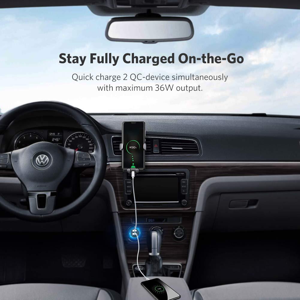 UGREEN 36W Caricabatterie Auto Quick Charge 3.0 iPhone XS Max XR X Huawei Mate 20 Lite Redmi Note 7 2 Porte USB Caricatore Auto Ricarica Rapida Car Charger per Samsung A50 A40 A10 A20e S10 S9 S8
