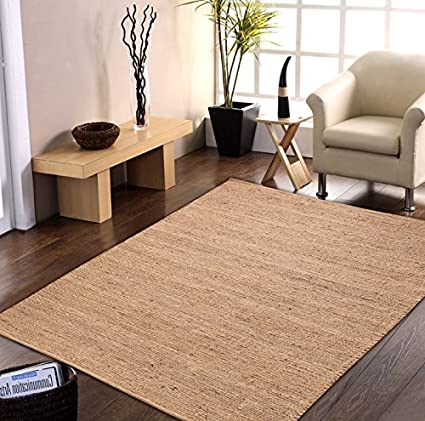 Centra Home Indian Traditional Rug Collection. Handmade 100% Jute Rugs Natural 5x8ft