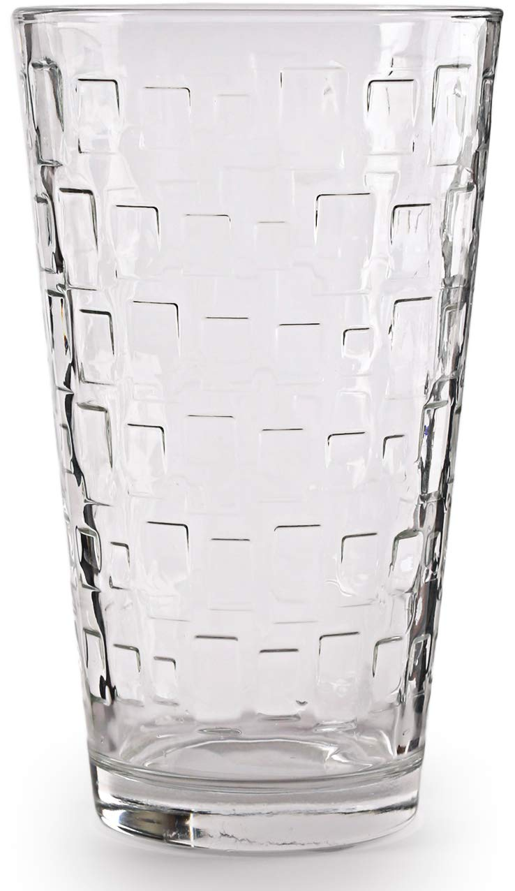 Circleware 40206 Huge Set of 10 Highball Tumbler Drinking Glasses, Home Kitchen Entertainment Heavy Ice Tea Beverage Cups Glassware for Water, Beer, Juice, Bar, Farmhouse Decor Gifts, 15.7 oz, Blocks