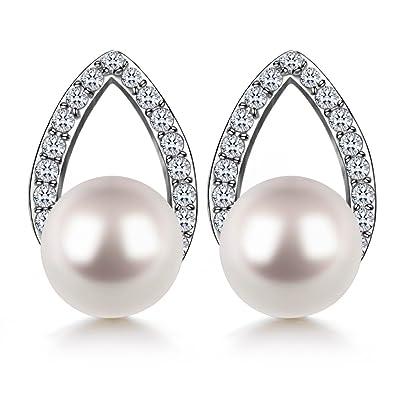 J.SHINE Pearl Dangle Drop Earrings Women With 925 Sterling Silver 3A 8MM Natural Freshwater Pearl CS6ZZ3aJ8r