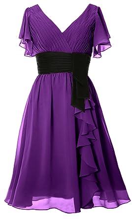 MACloth Elegant Short Sleeve Mother of Bride Dress V Neck Cocktail Formal  Gown (2,